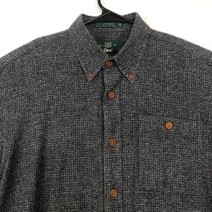 Orvis Medium Plaid Button Up Flannel Shirt Gray